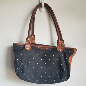 KATE SPADE Polka Dot Mini Leather Accented Bag